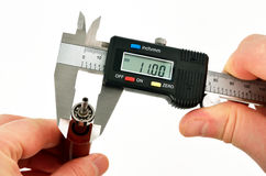 Caliper measurements on the bearing Royalty Free Stock Photography