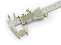 Caliper measures change 2 Stock Photo