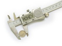 Caliper measures change. And displays Money on white background Royalty Free Stock Photography
