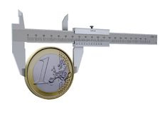 Caliper measures the euro coins Royalty Free Stock Images