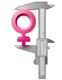 Caliper measures female sign. Graphic concept of measuring size of woman symbol. Qualitative vector (EPS-10) illustration about womans biology and health, woman Royalty Free Stock Images