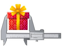 Caliper measures gift sign Royalty Free Stock Photos