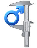 Caliper measures male sign. Graphic concept of measuring size of man symbol. Qualitative vector (EPS-10) illustration about mens biology and health, male Royalty Free Stock Images