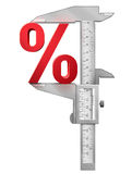 Caliper measures percentage symbol. Concept of percent sign and measuring tool. Qualitative vector (EPS-10) illustration for banking, financial industry, sale Stock Photos