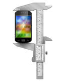 Caliper measures smartphone Stock Photos