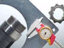 Caliper with mechanical pieces Royalty Free Stock Photo