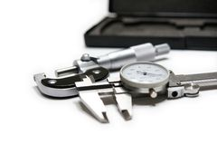 Caliper and Micrometer. Picture of micrometer and caliper with black case stock photo