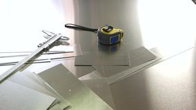 Caliper and tape measure. Measuring tools on metal background. Tips for beginner engineers stock footage