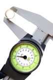 Calipers. Measuring the outside diameter of brass tube Stock Images