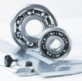 Calipers with bearing. Mechanical scheme and two bearing royalty free stock photos