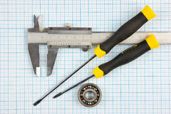 Calipers, bearing and square Royalty Free Stock Photo