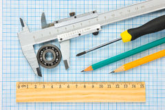 Calipers, bearing and square Royalty Free Stock Images