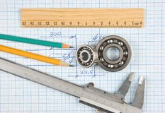 Calipers, bearing and square Royalty Free Stock Photos