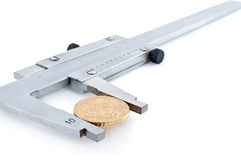 Calipers with euro coin Royalty Free Stock Image