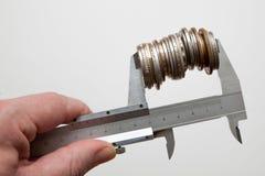 Calipers mień monety Obraz Royalty Free