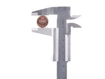 Calipers with one cent Stock Image