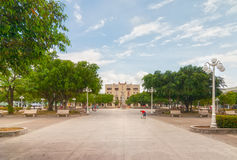 Calixto Garcia park with locals spending their holidays Royalty Free Stock Photo