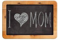 Calkboard avec marquer avec des lettres je t'aime la maman Images libres de droits