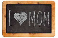 Calkboard with lettering I love you mom. Chalkboard with lettering I love you mom. Background for design royalty free stock images
