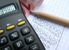 Calkulator. Calculator, bills, money and pencil Royalty Free Stock Photos