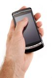 Call. Glossy black cell phone in a man's hand Royalty Free Stock Photo