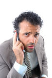 On Call. Concerned Businessman on the mobile phone Stock Images