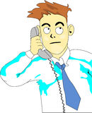 This Is A Call. Frame of business man cartoon alike who makes a telephone call Royalty Free Stock Image