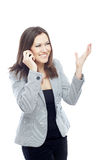 Call. Glad businesswoman talking via cellular phone Royalty Free Stock Photos