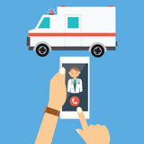 Call ambulance car doctor mobile phone emergency. Call ambulance car doctor via mobile phone medical paramedic emergency vector illustration drawing Royalty Free Stock Images