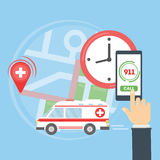 Call the ambulance. Map with ambulance car. Person holds smartphone and calls the first aid. 911 rescue Stock Photography