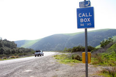 Call box right here!. Call box on road , back road royalty free stock images