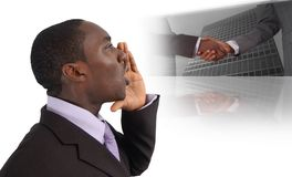 The Call For Business. This is an image of business man with his hands near his lips making The Call For Business. This image can be used for announcement or Stock Image