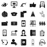Call on business icons set, simple style. Call on business icons set. Simple set of 25 call on business vector icons for web  on white background Stock Image