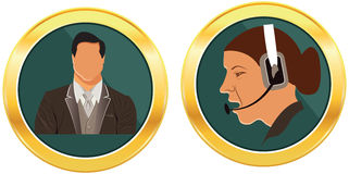 Call button of suit man and happy smiling cheerful customer sevice girl Stock Photo