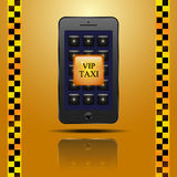 Call Button VIP taxi in the smartphone Royalty Free Stock Images