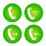 Call buttons. Phone green buttons isolated on white background Stock Image