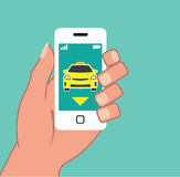 Call a Cab on Smart Phone Stock Photography