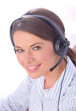 Call center. Beautiful woman with headset working in call center Stock Photo