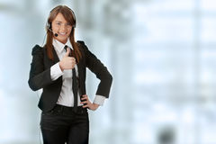 Call center. Young beautiful woman,call center worker Royalty Free Stock Photography