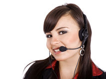 Call Center. Stock image of female call center worker, isolated on white Stock Photo