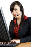 Call Center. Stock image of female call center worker Royalty Free Stock Photos
