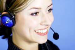 Call-Center. A young nice Women working in a Callcenter Stock Photo