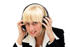 Call center. A smiling agent woman of a call center with headset, isolated over white background Royalty Free Stock Image