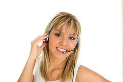 Call center. Young blond girl working in the call center Royalty Free Stock Image