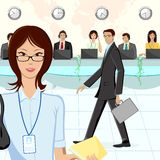 Call Center. Illustration of call center executive in office Royalty Free Stock Image