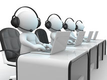 Call center. 3d people - human character , person with headphone and a laptop. Call center.  3d render illustration Stock Photo