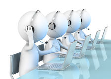 Call Center. 3D little human character X 4 in a Call Center. Business People series Stock Photos