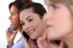 Call center. Three young call center workers royalty free stock photo