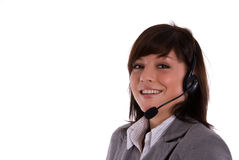 Call center. Young woman in a call center Royalty Free Stock Photos