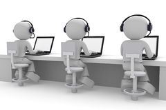 Call center. People work at computer. Isolated on white background Royalty Free Stock Photo